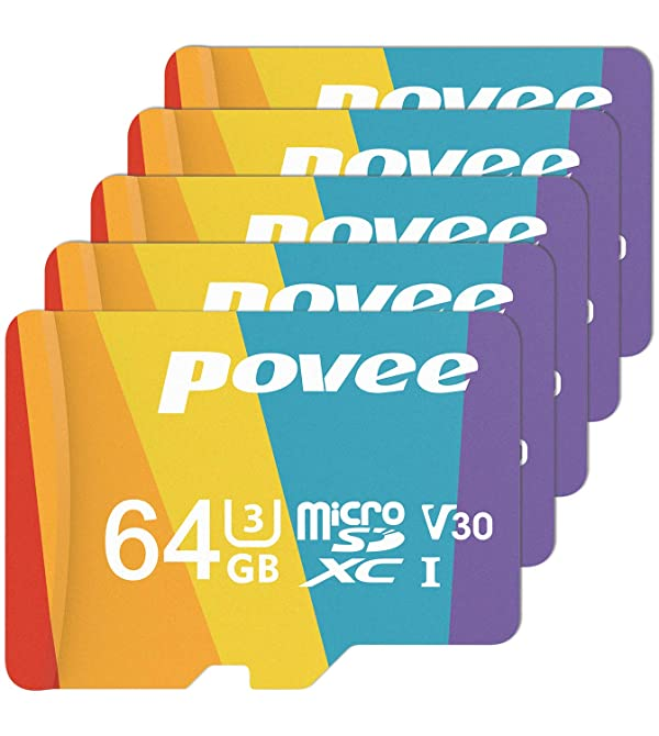 5 Pack of 64GB MicroSD Card with Adapter,U3 A1 MicroSDXC Card 667X High Speed Up to 100MB/s UHS-I Micro SD 64 GB UHS-1 Memory Card for Android Smartphone Nintendo Galaxy Fire and Gopro (Color: 5 Pack 64GB, Tamaño: 64GB)