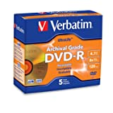 Verbatim DVD-R 4.7GB 8X UltraLife Gold Archival Grade - Branded Surface & Hard Coat - 5pk Jewel Case (Color: Information not Available, Tamaño: 4.7GB 8X)