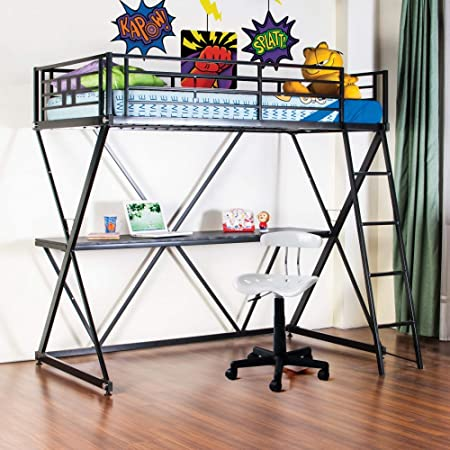 4D Concepts Zinnia Twin Loft Bed with Desk - Black