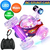 Remote Control Car,360° Rotating Stunt Cars RC Toys for Kids Boys Girls Holiday Toys Christmas Birthday Gifts Hobby RC Crawlers Vehicles Trucks Radio Remote Control Racing Car LED Lights Music (Red) (Color: 01 Red)
