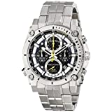 Bulova 96G175 Mens Precisionist Silver Steel Bracelet Chronograph Watch (Color: black)