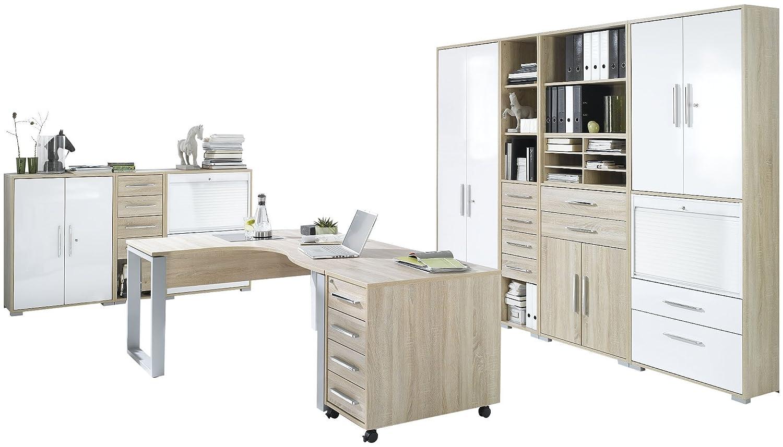 MAJA-Möbel 1209 2556 Büroprogramm SYSTEM, Sonoma-eiche-Nachbildung - Weiß Hochglanz