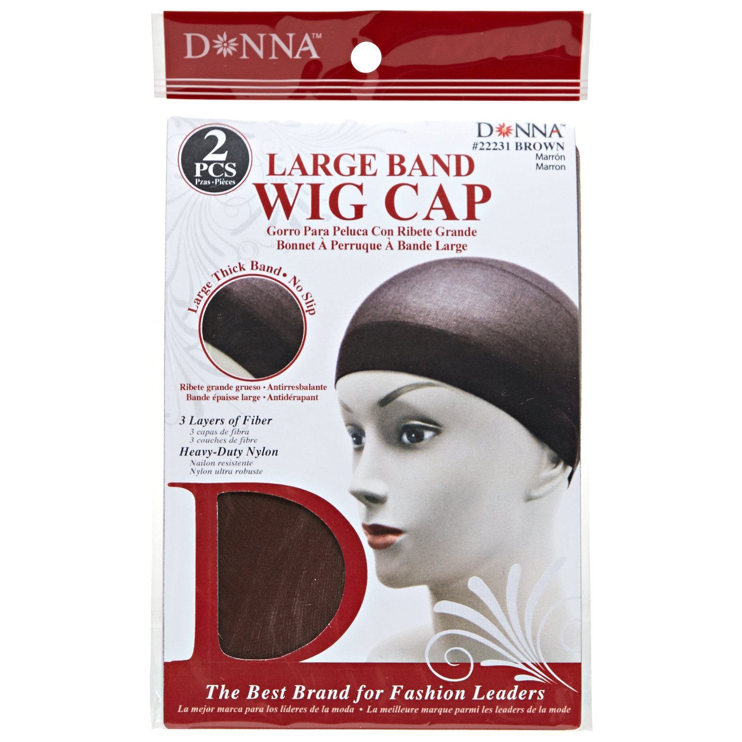 Donna Brown Large Band Two Piece Wig Cap