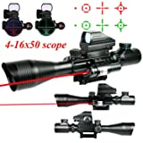 Higoo Telescopic Sight 4-16x50EG Green/Red Rangfinder Reticle Hunting Rifle Scope with Holographic 4 Reticle Sight & Red Laser Kit
