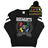 Harry Potter Hogwart Long Sleeve Black Shirt Embroidered House Animal Beanie SM (Color: Black, Tamaño: Medium)