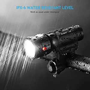 INBIKE Bike Light Front USB Rechargeable Waterproof Super Bright High Lumens Bicycle Headlight with Mount (Color: Black)