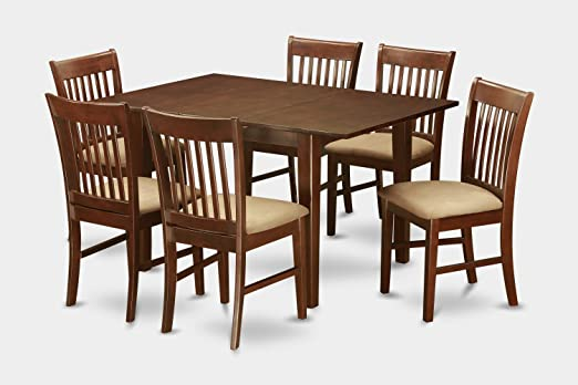 East West Furniture MLNO7-MAH-C 7-Piece Kitchen Table Set
