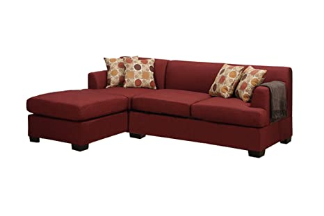 Poundex Bobkona Winfred Blended Linen 2-Piece 3-Seat Reversible Sectional Sofa, Dark Red