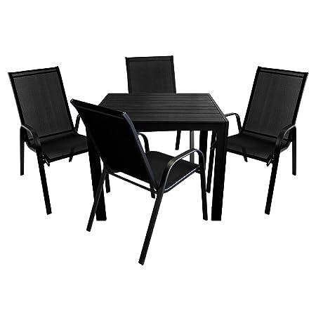 5tlg. Bistrogarnitur 4x Stapelstuhl mit Textilenbespannung + Aluminium Gartentisch Polywood 90x90cm / Gartenmöbel Set Terrassenmöbel Balkonmöbel Sitzgarnitur Sitzgruppe