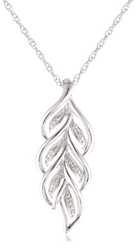 Sterling-Silver-Leaf-Diamond-Pendant-Necklace-0-01-cttw-I-J-Color-I2-I3-Clarity-18-