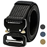 Tactical Belt,1.5 Inch Men's Web Army Military Quick Release Buckle Belt-Black 53 inch(Gift Package)