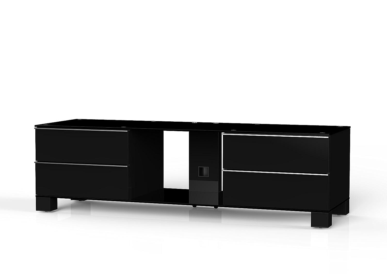 Sonorous MD 9540-B-HBLK-BLK Fernseher-Möbel mit Schwarzglas (Aluminium Hochglanz/Korpus Hochglanzdekor) schwarz