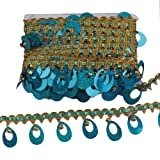 CENFRY 10yards 2inch Width Bell Sequins Lace Fringe Trim Tassel Sewing on Dress Clothing Curtain (Lake Blue) (Color: lake blue)