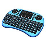 Rii i8+ BT Mini Wireless Bluetooth Backlight Touchpad Keyboard with Mouse for PC/Mac/Android, Blue (RTi8BT-3) (Color: Blue)