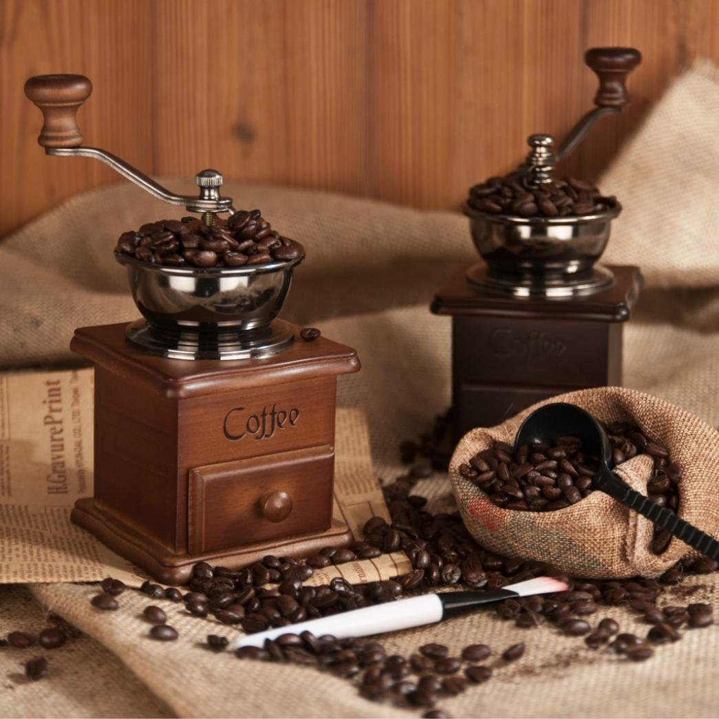 Hotkey Manual Vintage Bronze Coffee Grinder Household Retro Wood Delicate Coffee Mill with Procelain,Durable Hand Grinding Machine 6