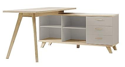 Germania 3879-245 Schreibtisch im skandinavischen Design GW-Oslo in Steingrau/Navarra-Eiche-Nachbildung, ca. 144 x 75 x 145 cm (BxHxT)