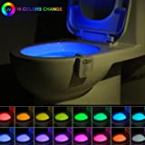 16-Color UV Sterilization Toilet Night Light Gadget, Motion Sensor Activated LED Lamp, Fun Washroom Lighting Add on Toilet Bowl Seat with Aromatherapy for Dad, Kids, Toddler Potty Training Funny Gifts (Color: 16-color Changing Uv Sanitizer Toilet Light W/ Air Freshener)