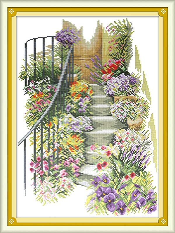 Joy Sunday Cross Stitch Kits 11CT Stamped Flower Stairs 16.5x22.4 or 42cmx57cm Easy Patterns Embroidery for Girls Crafts DMC Cross-Stitch Supplies Needlework Animal Series (Color: Flower Stairs)