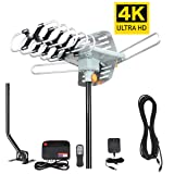 TV Antenna -Outdoor Amplified HDTV Antenna 150 Mile Motorized with Adjustable Antenna Mount Pole for 2 TVs Support - UHF/VHF 4K 1080P Channels Wireless Remote Control - 33FT Coax Cable … (Color: Grey, Tamaño: 150 Mile with Pole)