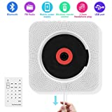 CD Player with Bluetooth, Portable CD Player Wall Mountable, Remote Control, FM Radio HiFi Speaker, Supports USB, Earphones and Phone Charging by HANPURE(White)