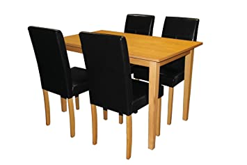 Premier Housewares Dining Table and Chair Set with Light Solid Wood and Black Leather Effect Chairs, 5 Pieces