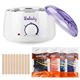 Wax Warmer Hair Removal Wolady Hot Wax Warmer Home Waxing Kit Wax Melts Electric Wax Heater DIY Depilatory Machine with 4 Flavors Hard Wax Beans and 10 Wax Applicator Sticks