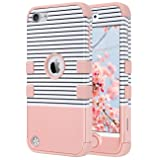 ULAK Case for iPod Touch 6/5th Generation, ULAK Anti Slip Anti-Scratch iPod Touch Case Shockproof Protective Cover with Hybrid High Soft Silicone + Hard PC Case(Minimal Stripes Rose Gold) (Color: Minimal Stripes Rose Gold)