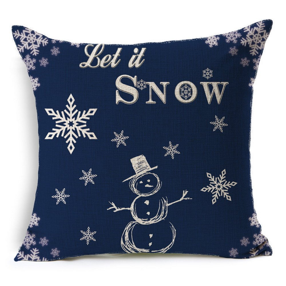 HT&PJ Decorative Cotton Linen Square Throw Pillow Case Cushion Cover Christmas Snowman Blue