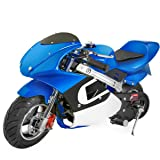 XtremepowerUS Gas Pocket Bike Motorcycle 40cc 4-Stroke Engine (Blue) (Color: Blue)