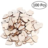 OULII Blank Heart Wood Slices Discs Wedding Christmas Ornaments, Pack of 100, 20mm (Color: Wood, Tamaño: 20mm)