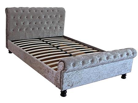 4FT SMALL DOUBLE Kingston Crushed Vevet Silber Schlitten Bett mit zugeknöpft Design FTA
