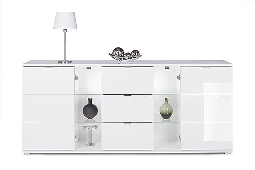 """""""Brillo Línea"""" aparador con iluminación LED (blanco), 200x85x40cm"""