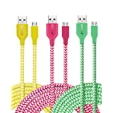 OKRAY 3 Pack 10ft Nylon Braided Tangle-Free Micro USB 2.0 to USB Charge Cable Sync Charging Charger Cord Compatible for Android, Samsung, HTC, Google, Sony, Nokia, LG and More (Green Yellow Hot Pink) (Color: Yellow Green Hot Pink, Tamaño: 10 feet)