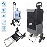 Step Up Foldable Grocery Shopping Cart Dolly – Stair Climber Utility Trolley Tote Bag – 6 Urethane Wheels for Flat or Stair Climbing – Collapsible Folding for Easy Storage - Great for Shopping (Black) (Color: Black)