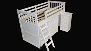 3&'0 Mid Sleeper Bed with 3+2 chest in White Finish       review and more information