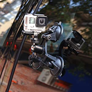 LARRITS Car Suction Cup Tripod Mount Outside Inside 360