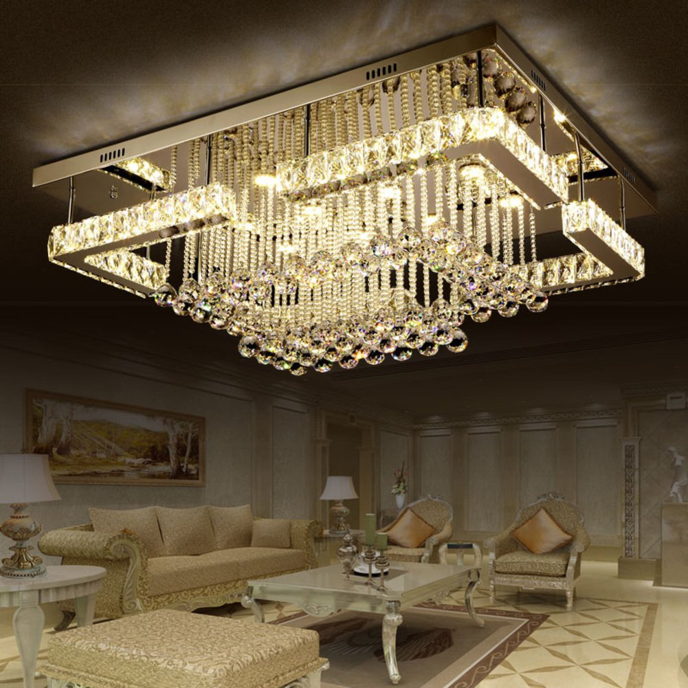rectangular living room lamp led crystal light ceiling