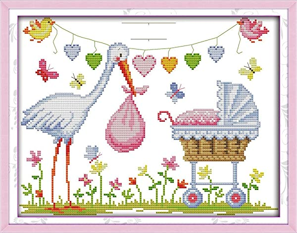 Full Range of Embroidery Starter Kits Stamped Cross Stitch Kits Beginners for DIY Embroidery with 40 Pattern Designs (The Crane Birth Certificate) (Color: The crane birth certificate)