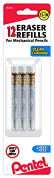 Pentel Refill Eraser for Mechanical Pencils, 3 Pieces per Pack, 3 Pack (Z21BP3-K6) at amazon