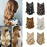 20''/24'' Flip on Wire in Synthetic Hair Extension Hidden Invisible Not Clip in Hair Extension Secret Miracle Headband Straight Wavy Blonde Black Brown (Color: Dark Black-wavy, Tamaño: 24'')