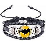 Batman Bat Shield Symbol Glass Domed Black Braided Bracelet
