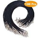 Paxcoo 100Pcs Black Waxed Necklace Cord with Clasp Bulk for Bracelet Necklace and Jewelry Making (20 Inches) (Color: Black)