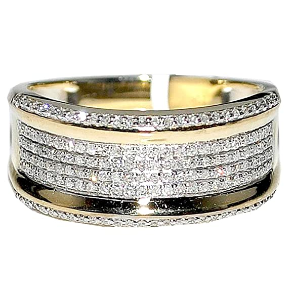 Rings-MidwestJewellery.com Men's Diamond Wedding Band Ring 10K Yellow Gold .45Cttw 10Mm Wide Pave Set Ring