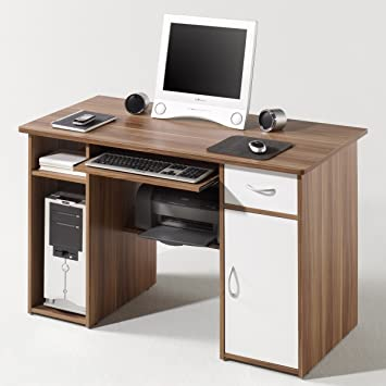 pc tisch coronel in walnuss front wei dc781. Black Bedroom Furniture Sets. Home Design Ideas