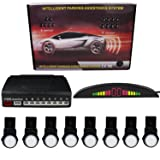 KIPTOP Car Reverse Backup Radar System LED Display - 8 Parking Sensors Premium Quality-Rear Buzzer Radar System Kit Sound Alarm All Cars - Waterproof & Easy Install - White (Color: White)