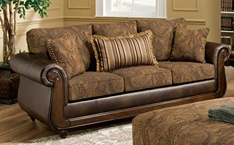 Chelsea Home Furniture Oneida Sofa, Isle Tobacco/Kiser Cappuccino/Teton Onyx Pillows (3)