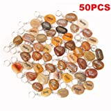 50PCS RockImpact Inspirational Stones Key Chains, Wholesale Lot, Engraved Natural River Rock Key Rings Keychains, Healing Stone Keychain Bulk Lot, Different Words Assorted Sayings (50 Pieces) (Color: Mixed, Tamaño: 2-3 inches)