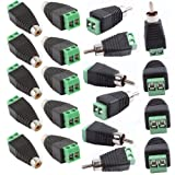20pcs Phono RCA Male and Female Plug to AV Screw Terminal Audio/Video Connector Adapter (10 Male & 10 Female)