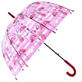 HAOCOO Flamingos Clear Umbrella,Bubble Transparent Fashion Dome Auto Open Umbrella Windproof for Outdoor Weddings or Events(Red)