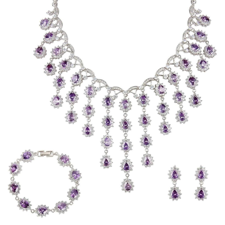 Ever Faith CZ Luxus Tropfen February Birthday STon Schmuck Set Silber-Ton lila N04961-1 jetzt bestellen